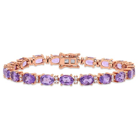 14 1/10ct TGW Amethyst White Sapphire Tennis Bracelet in Rose Plated Sterling Silver by Miadora