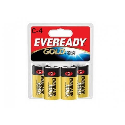 Eveready Gold A93BP-4 Alkaline Battery, Size C, 1.5 Volt, 4/Pack