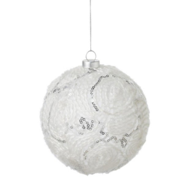"4.5"" Tell a Story White and Silver Sequined and Spun Yarn Patterned Christmas Glass Ball Ornament"