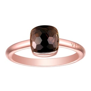 Vedantti Magic Honeycomb Cut Smoky Quartz Gemstone Energy Solitaire Ring