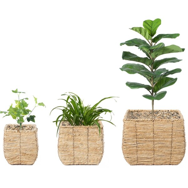 Woven Square Flower Pot Planter with Leak-Proof Plastic Lining- Set of 3. Opens flyout.