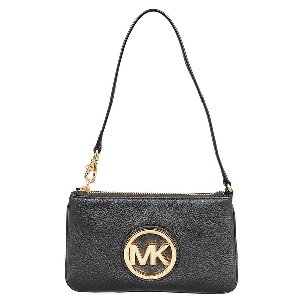 535cad51e556 Shop Michael Kors Black Leather Fulton Wristlet Clutch Bag - Free Shipping  Today - Overstock - 22678617