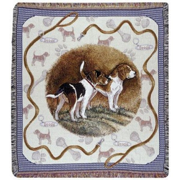 "Beagle Dog Tapestry Throw By Artist Pat Lehmkuhl 50"" x 60"""