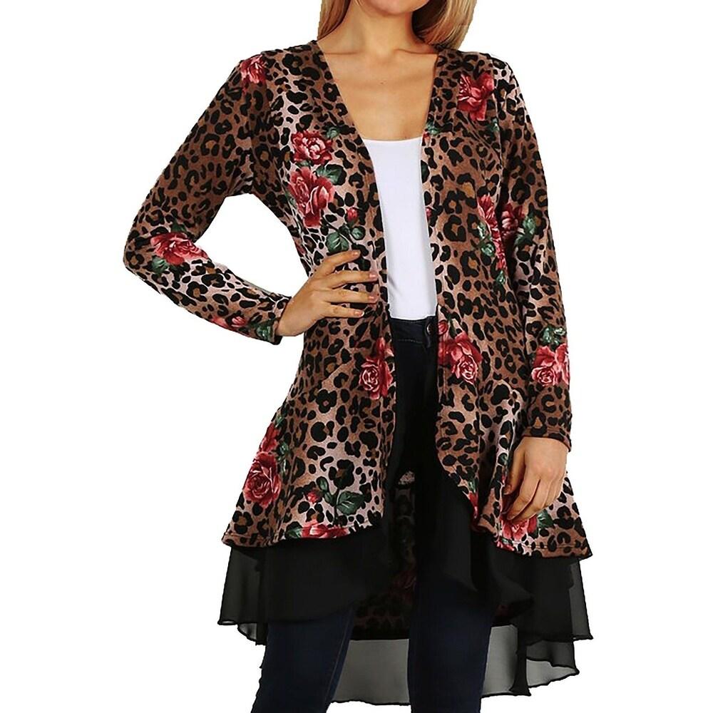 Funfash Women Plus Size Cardigan Black Layer Brown Leopard Sweater USA