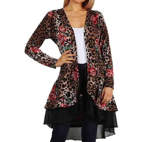 Funfash Women Plus Size Cardigan Black Layer Brown Leopard Sweater USA