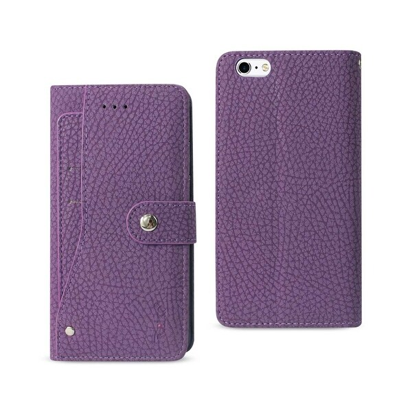 REIKO IPHONE 6 PLUS/ 6S PLUS WALLET CASE WITH SLIDE OUT POCKET AND FOLD STAND IN PURPLE