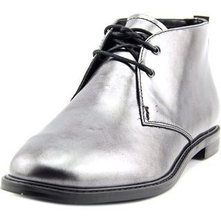 Franco Sarto A-Tomcat Women Round Toe Patent Leather Silver Ankle Boot