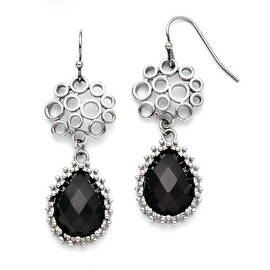 Chisel Stainless Steel Black Onyx Shepherd Hook Teardrop Earrings