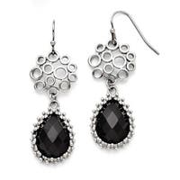 Chisel Stainless Steel Black Onyx Shepherd Hook Teardrop Earrings