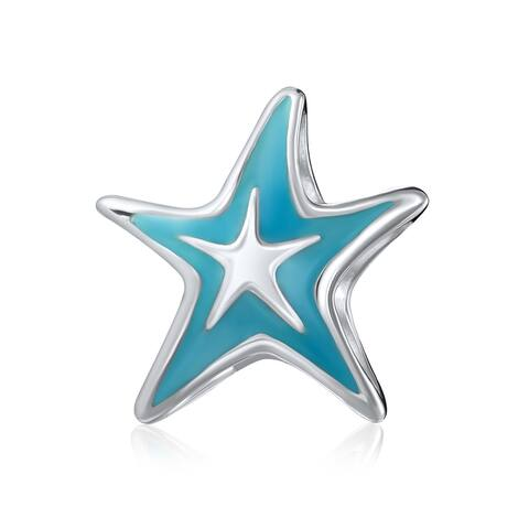 Nautical Tropical Vacation Blue Starfish Bead Charm Sterling Silver