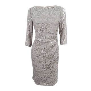 Jessica Howard Women's Petite Sequined-Lace Dress - Brown