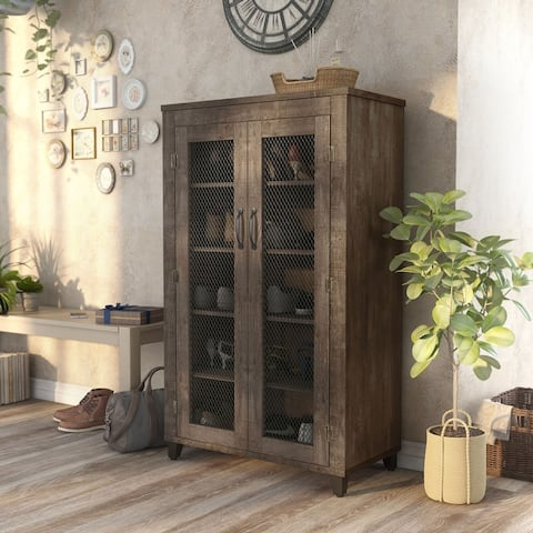 Romeo Rustic 5-shelf Reclaimed Oak Finish Shoe Cabinet