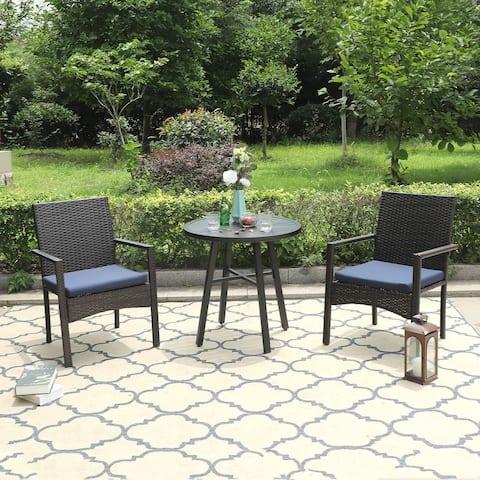 "PHI VILLA 3-piece Patio Dining Coffee Sets, 28"" Round Metal Bistro Table & 2 Rattan Garden Chairs"