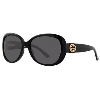 Gucci Womens Oval Sunglasses UV Protection Oversized - Shiny Black - o/s