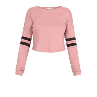 NE PEOPLE Women's Casual Long Sleeve Stripe Detailed French Terry Crop Top