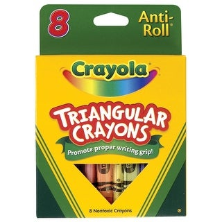 Crayola Anti-Roll Non-Toxic Triangular Crayon, 7/16 X 4 in, Assorted Color, Pack of 8