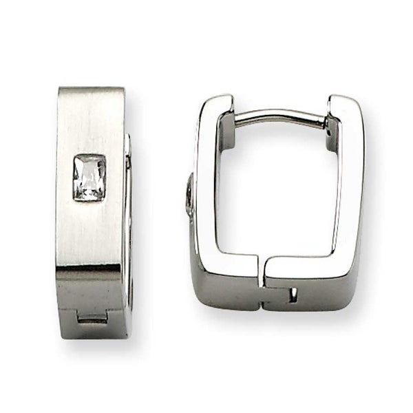 Chisel Stainless Steel Satin with CZ Square Hinged Earrings