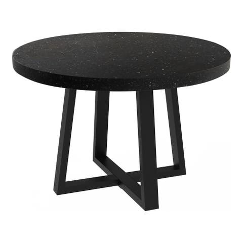 Aurelle Home Modern Terrazzo and Iron Round Dining Table - 47.25 x 47.25 x 30 - 47.25 x 47.25 x 30