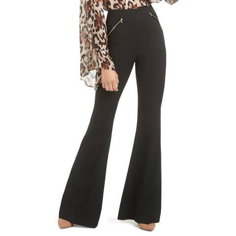 Rachel Zoe Womens Pants Black Size 6 Satin Zip-Trim Crepe Flared Leg