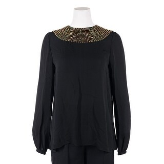 Valentino Women's Black Multicolor Beaded Silk Button Down Shirt