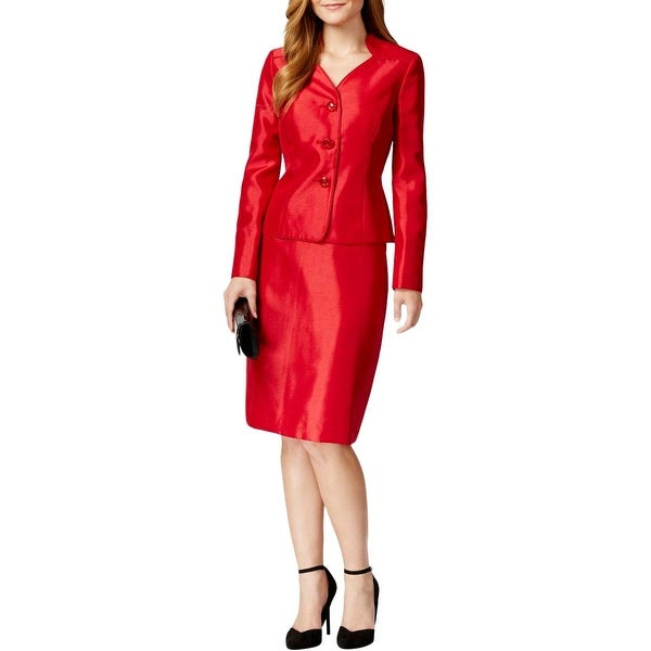 Le Suit Womens Petites Skirt Suit Collarless 2PC