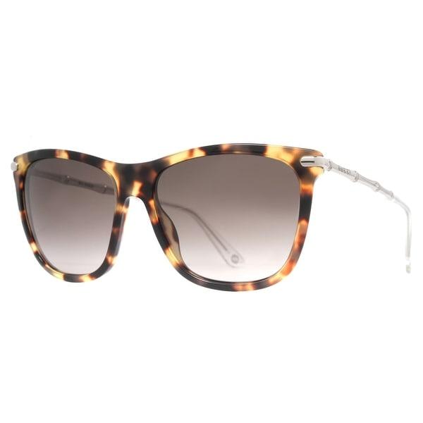 Gucci GG 3778/S HRT/HA Brown Havana Silver Bamboo/Gradient Women's Sunglasses - brown havana - 56mm-