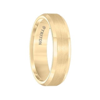 GUILDER Polish Finished Beveled Edge Yellow Gold Plated Tungsten Carbide Ring with Satin Finished Center by Triton Rings - 6mm