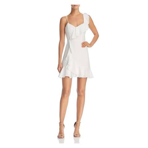 PARKER Womens Ivory Ruffled Asymmetric Silk Sleeveless V Neck Mini Cocktail Dress Size: 12