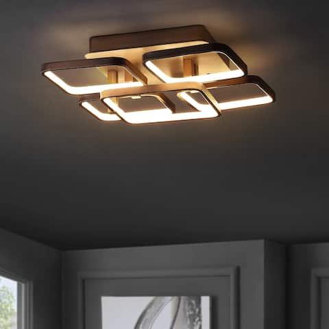 "Sebastian 17.5"" Integrated LED Metal Flush Mount Ceiling Light, Coffee by JONATHAN Y"