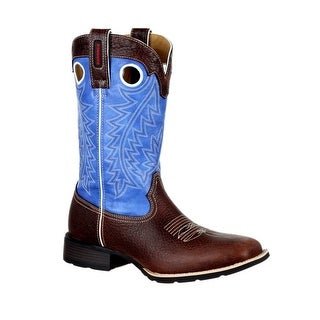 Durango Western Boots Mens Mustang Pull On Leather Brown Blue DDB0121