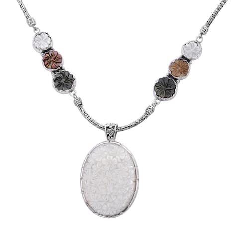 925 Sterling Silver White Mother of Pearl Station Necklace Size 18 In - Necklace 18''