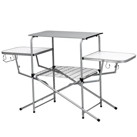 Costway Foldable Camping Table Outdoor Kitchen Portable Grilling Stand