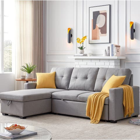 Grey Sleeper Sectional Sofa with Storage Chaise