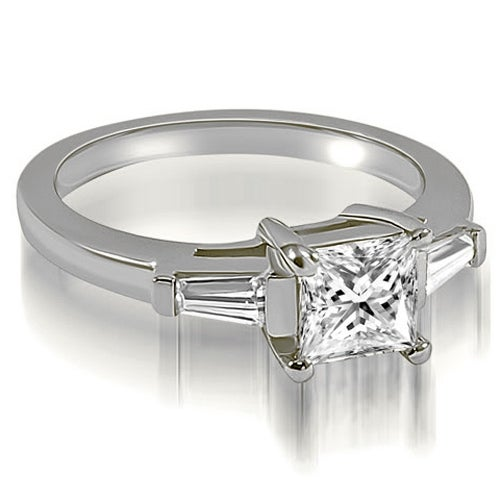 0.75 cttw. 14K White Gold Princess Baguette Three Stone Diamond Engagement Ring HI, SI1-2