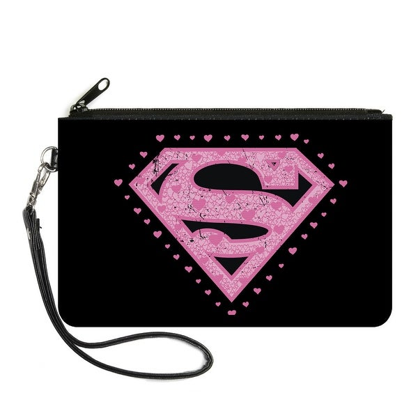 Superman Heart Shield Black Pinks Canvas Zipper Wallet