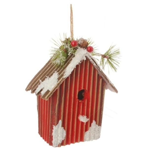 "5.25"" Country Cabin Frosted and Glittered Red Birdhouse Christmas Ornament"