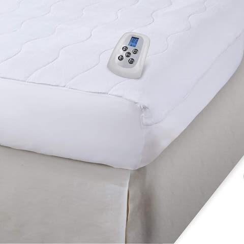 Serta Microplush Electric Heated Warming Mattress Pad - White