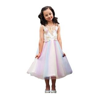 Little Girls Pink Yellow Sleeveless Top Layered Skirt Unicorn Dress