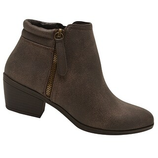 Adult Brown Double Side Zipper Closure Casual Trendy Ankle Boots