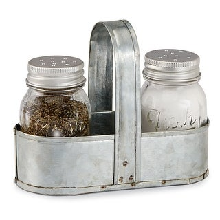 Link to Mud Pie Salt-and-Pepper Shaker Set - Fresh Glass Spice Container Dispensers with Tin Caddy Holder - Silver Similar Items in Serveware