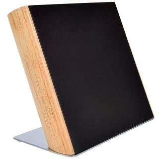 HUFTGOLD Kitchen Knife Magnetic Holder, Rubber Wood Knife Block Storage Holder Organizer - Black/Silver
