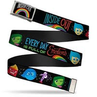 Inside Out Rainbow Fcg Black White Multi Color  Chrome Inside Out Web Belt