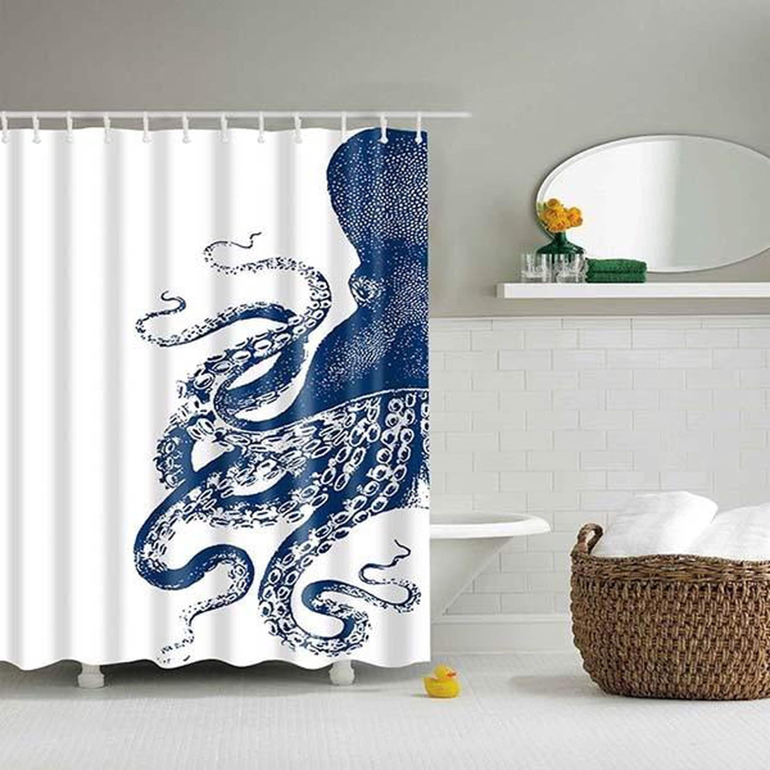 Shop Black Friday Deals On Bathroom Shower Curtains 3d Decor Nautical Shower Curtain Overstock 25414614
