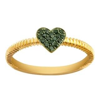 Prism Jewel Round Green Diamond Heart Shaped Valentine Ring