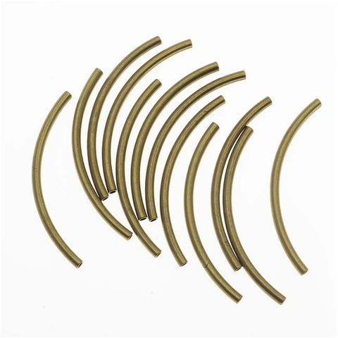 Antiqued Gold Plated Curved Noodle Tube Beads 2mm x 38mm (12)