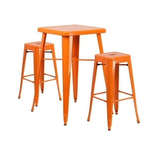 Offex Orange Metal Indoor-Outdoor Bar Table Set with 2 Backless Barstools
