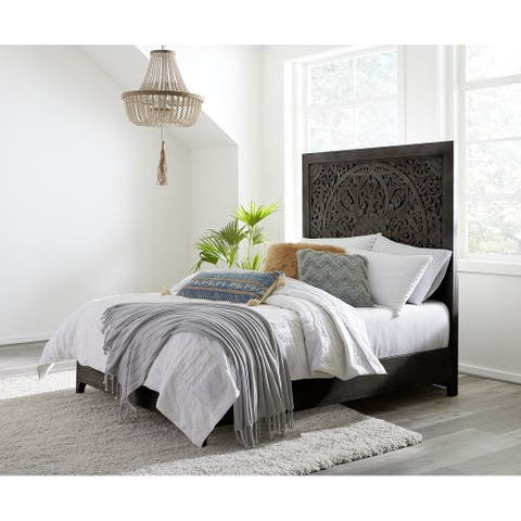 Boho Chic Carved Headboard Bed in Coffee Bean