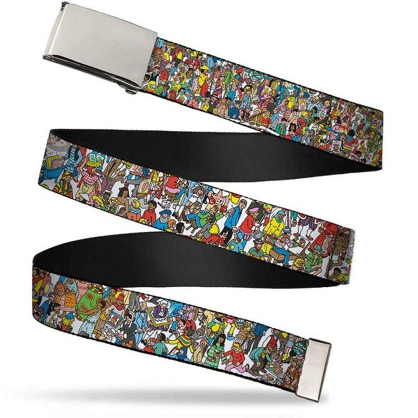 "Blank Chrome 1.0"" Buckle Where's Waldo? Great Portrait Exhibition Webbing Web Belt 1.0"" Wide"