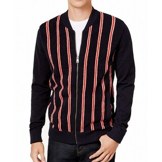 Tommy Hilfiger Red Mens Full Zip Stripe Sweater