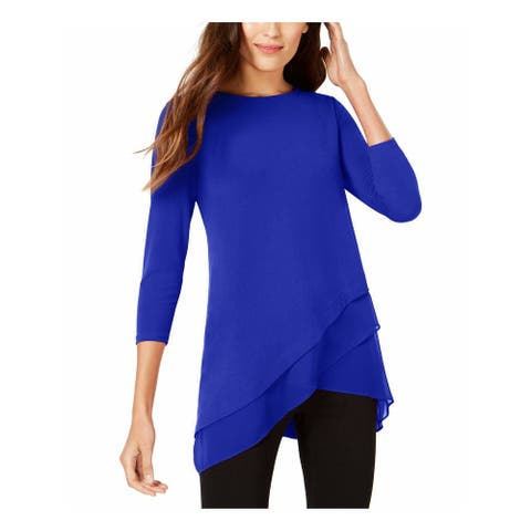 ALFANI Womens Blue 3/4 Sleeve Jewel Neck Top Size S